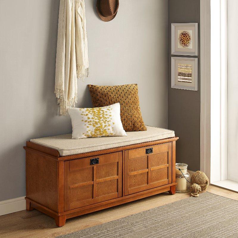 Warm Oak Entryway Bench Alder Rc Willey Furniture Store