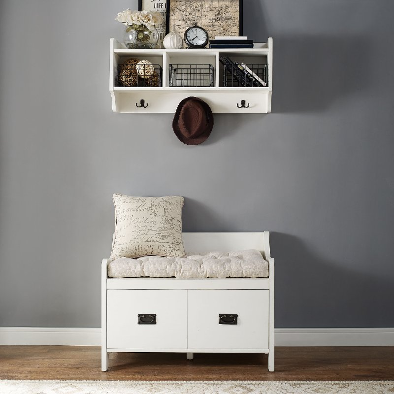 Distressed White Two Piece Entryway Bench And Shelf   Fremont | RC Willey  Furniture Store