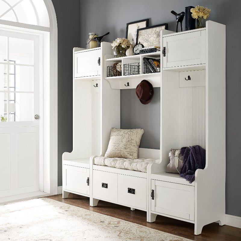 Distressed White 4 Piece Entryway Wall Unit - Fremont