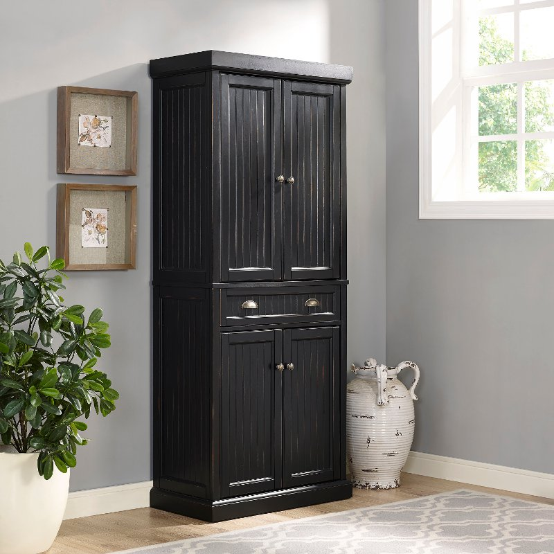 Exceptionnel Distressed Black Kitchen Pantry Cabinet   Seaside | RC Willey Furniture  Store