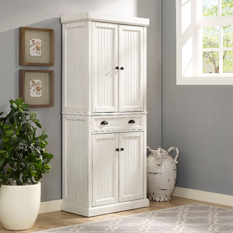 CF3103-WH Distressed White Kitchen Pantry Cabinet - Seaside & Distressed White Kitchen Pantry Cabinet - Seaside | RC Willey ...