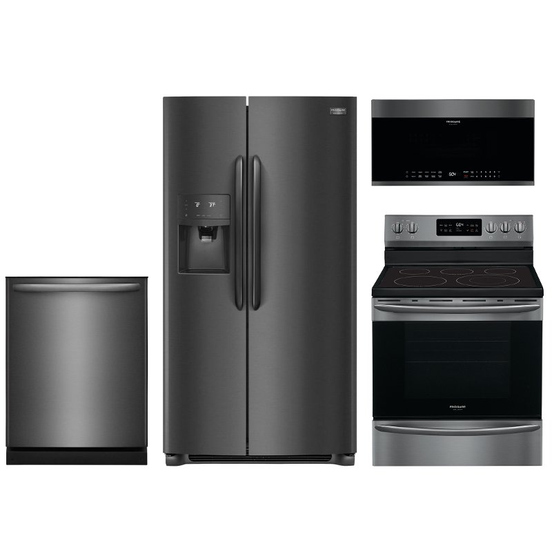 Frigidaire Gallery 4 Piece Electric Kitchen Appliance Package with Side by  Side Refrigerator - Black Stainless Steel