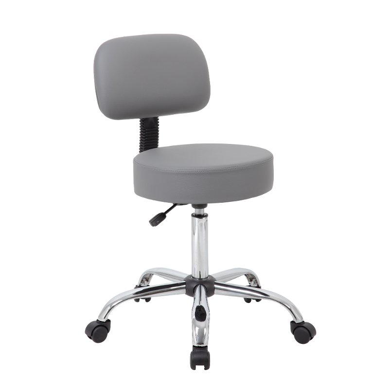 Adjustable Gray Medical Stool With Back