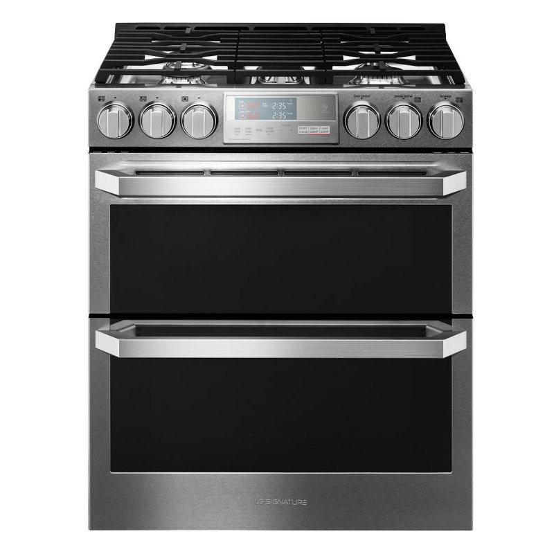 Lg Signature Slide In Gas Range With Double Oven Textured Steel