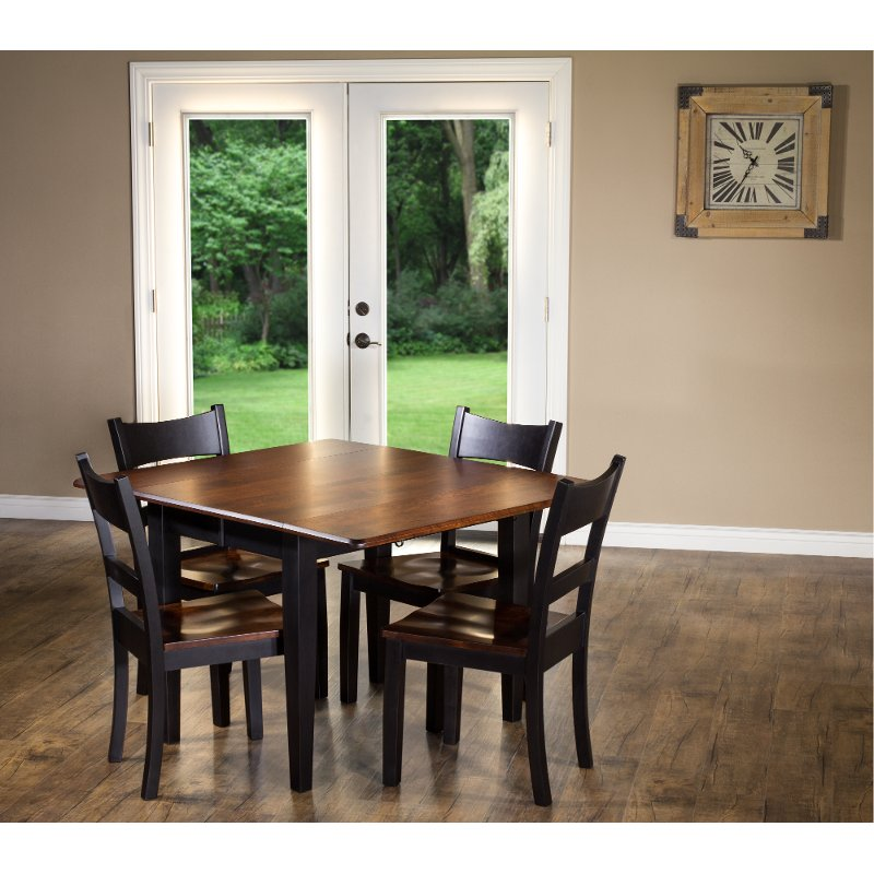Astonishing Maple And Black 5 Piece Dining Set With Ladder Back Chairs Saber Beutiful Home Inspiration Cosmmahrainfo