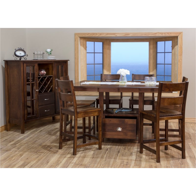 Larkin Maple 5 Piece Counter Height, Dining Room Table Maple Wood