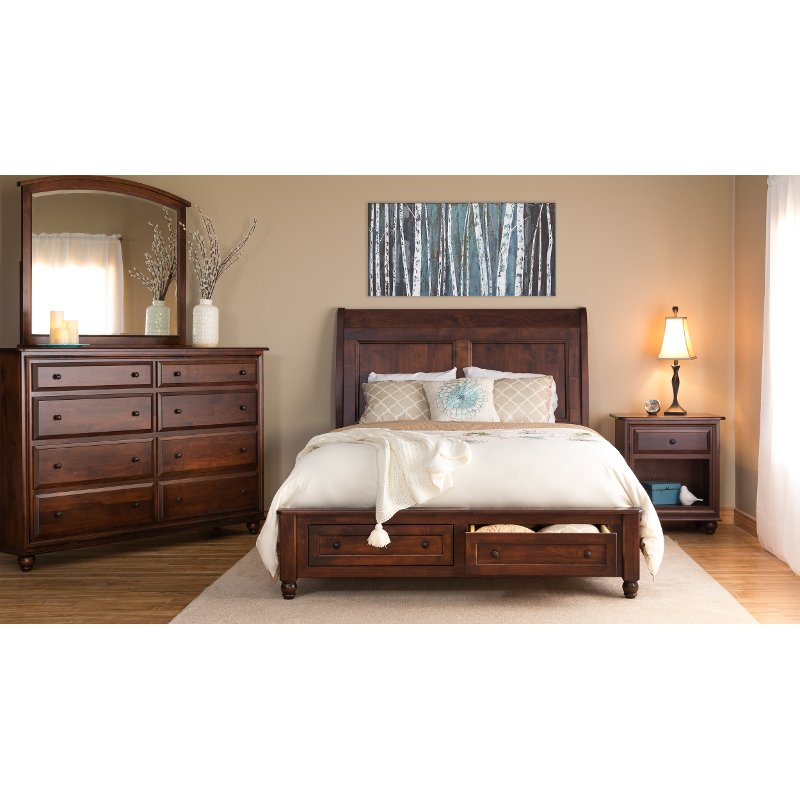 classic maple brown 4 piece queen bedroom set - charlton | rc willey