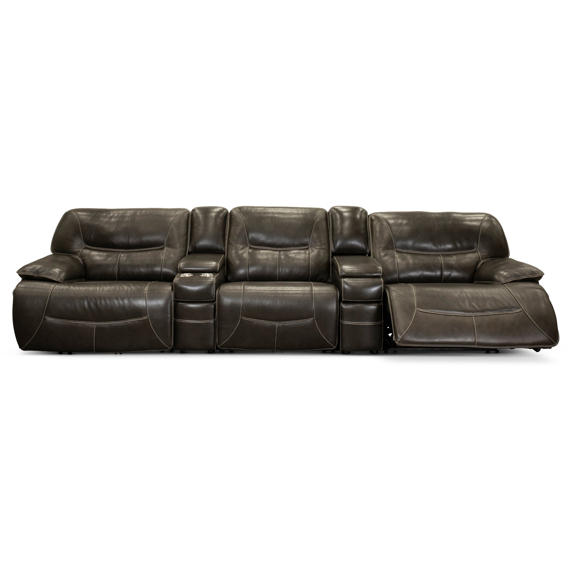 Steel Gray Leather-Match Power Reclining Sectional Sofa ...