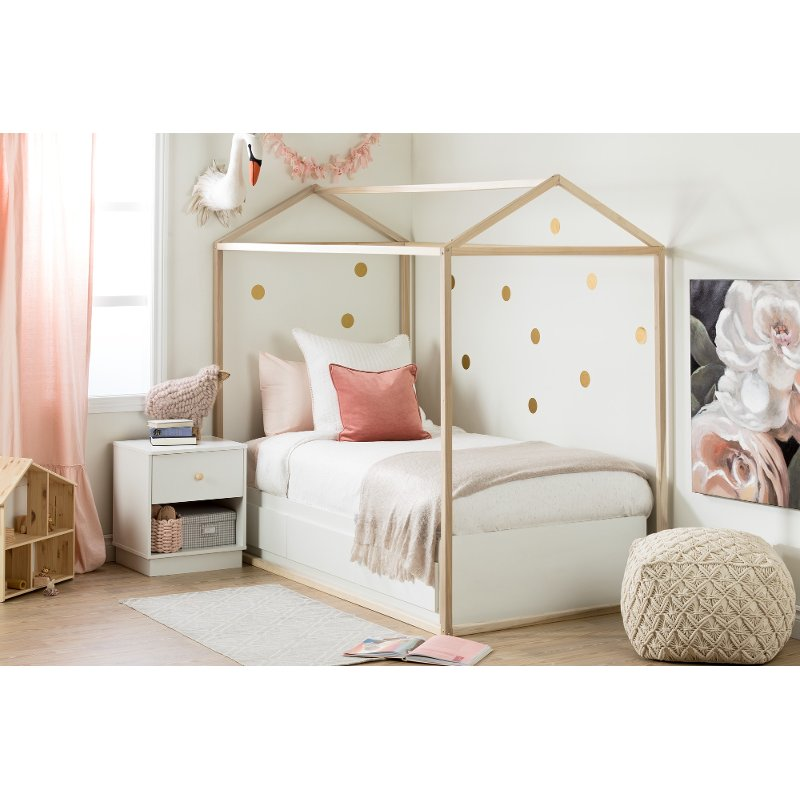Rc Willey Kids Beds: Contemporary White Twin Storage Bed - Sweedi