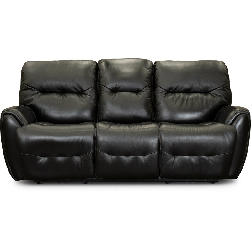 Black Leather Match Power Reclining Sofa Blaise Rc Willey
