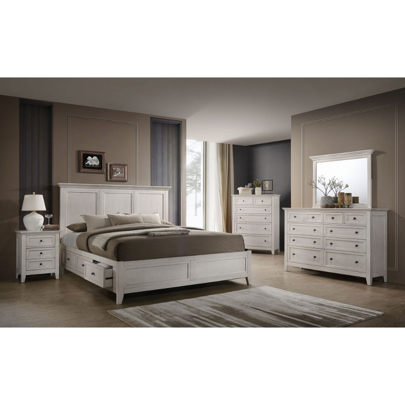 Casual Classic Rustic White 6 Piece Queen Bedroom Set