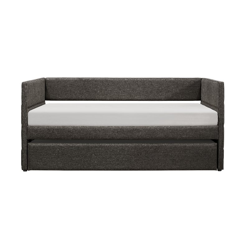 Modern Dark Gray Upholstered Daybed With Trundle   Vining