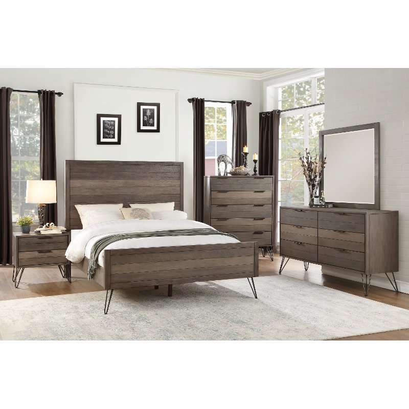 Contemporary Bedroom Furniture Stores: Modern Industrial Gray 4 Piece California King Bedroom Set
