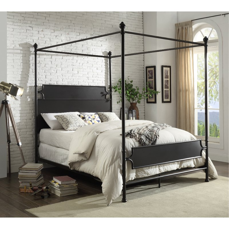 Classic Industrial Bronze Queen Metal Canopy Bed Maddie