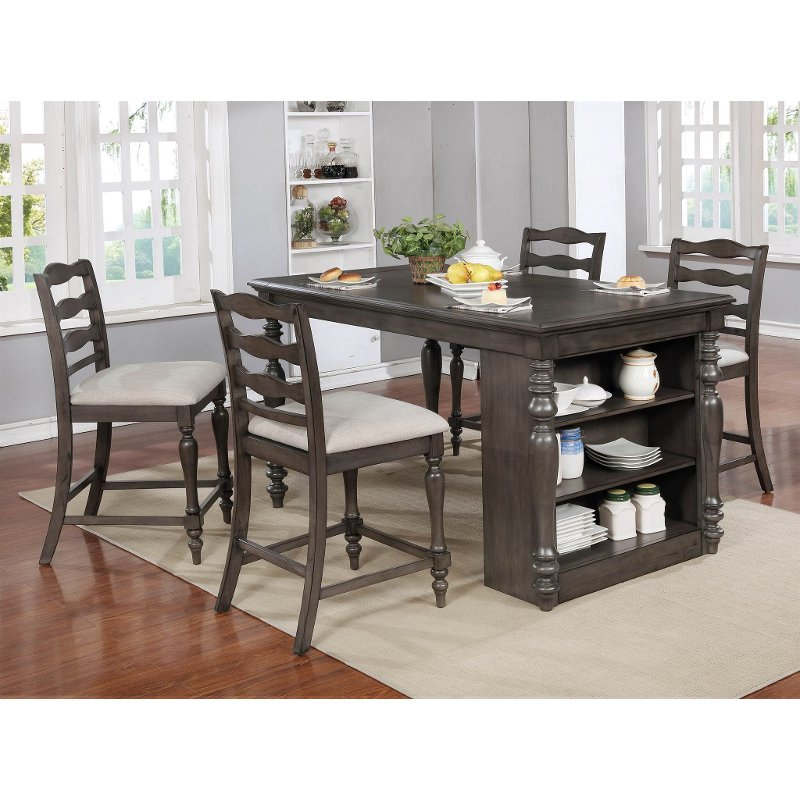 Average Dining Room Table Height: Birch Gray Counter Height Dining Room Table - Theresa