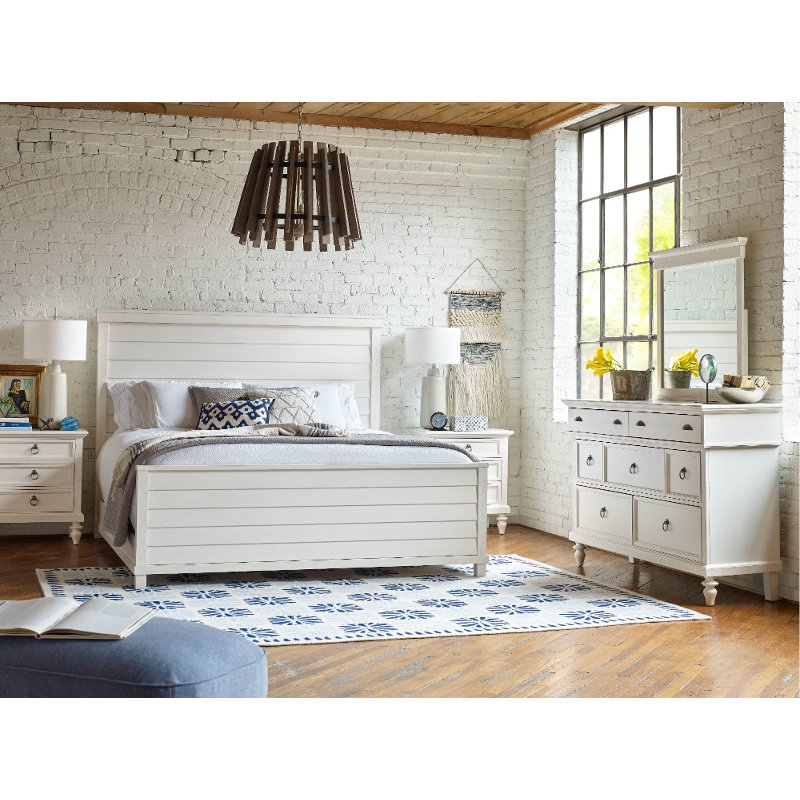 rustic casual white 6 piece queen bedroom set ashgrove rc willey furniture store. Black Bedroom Furniture Sets. Home Design Ideas