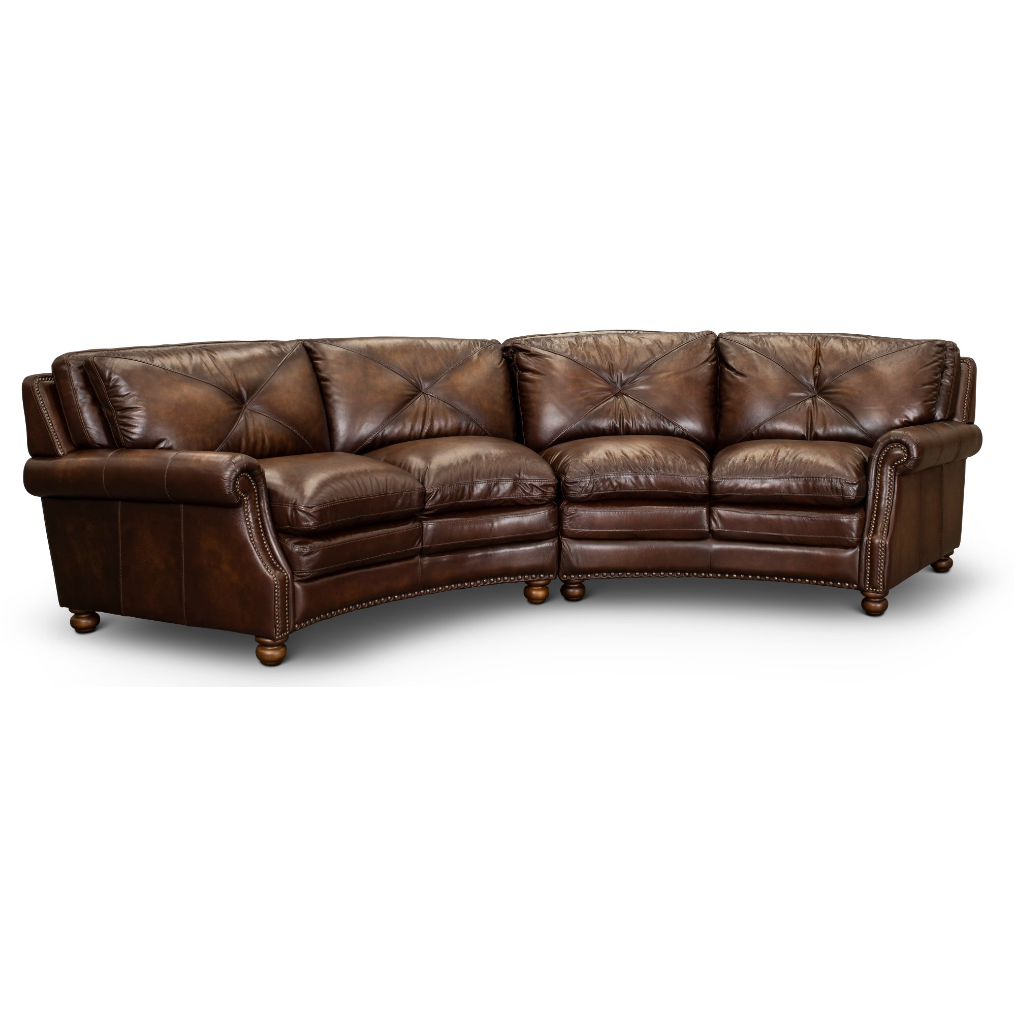 Fabulous Classic Brown Leather 2 Piece Sectional Suffolk Ibusinesslaw Wood Chair Design Ideas Ibusinesslaworg