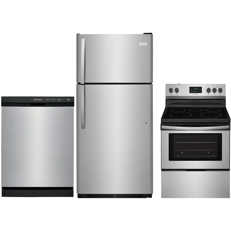 Frigidaire 3 Piece Electric Kitchen Appliance Package With Top Freezer Refrigerator Stainless