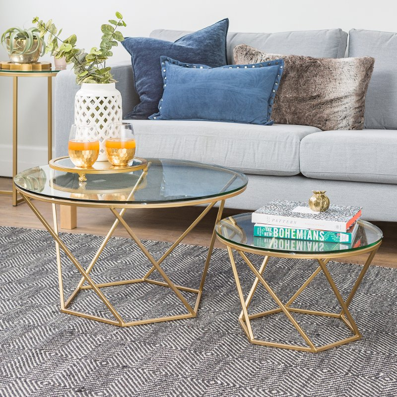 Geometric Nesting Gold And Glass Coffee Tables
