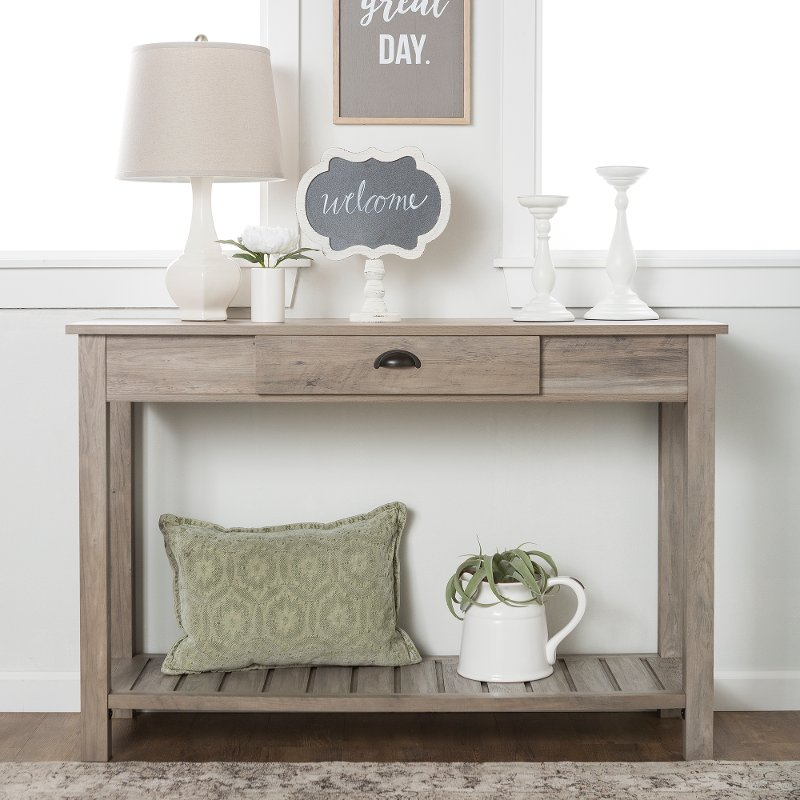 Country Style Rustic Gray Entryway Table