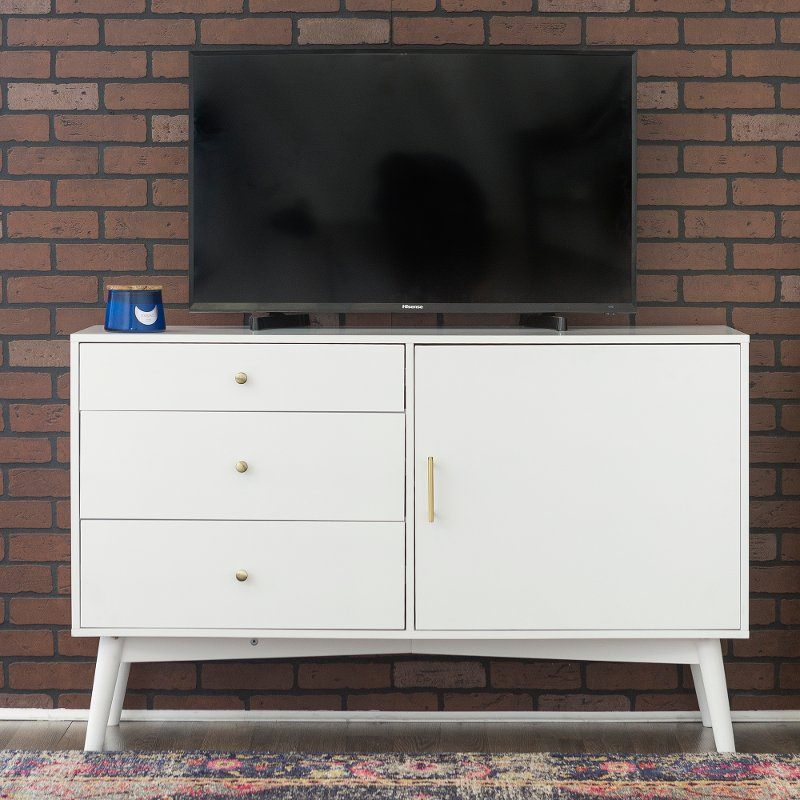 52 Inch Retro White Tv Stand Angelo Rc Willey Furniture Store