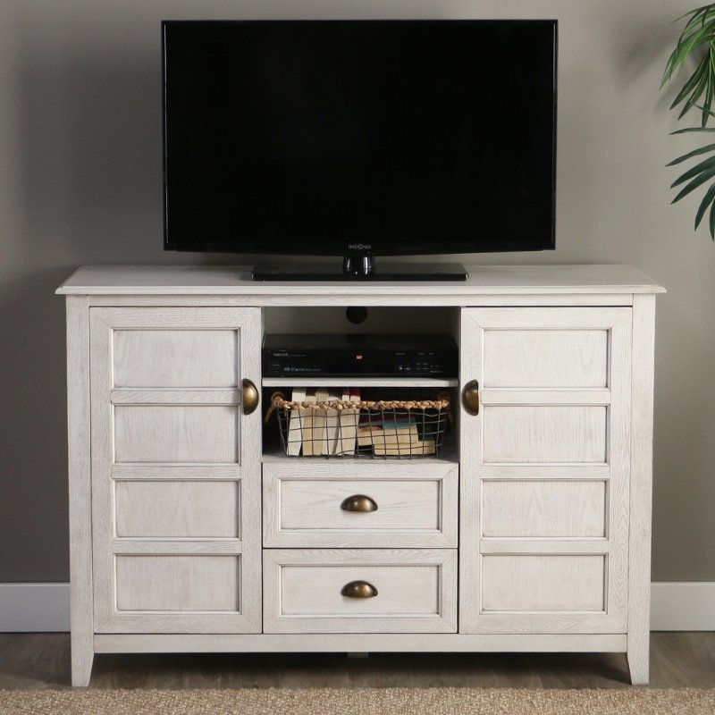 52 Inch Rustic Distressed White Tv Stand Angelo