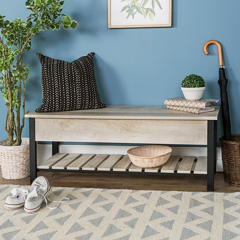 Outstanding Open Top White Oak Storage Bench With Shoe Shelf Short Links Chair Design For Home Short Linksinfo