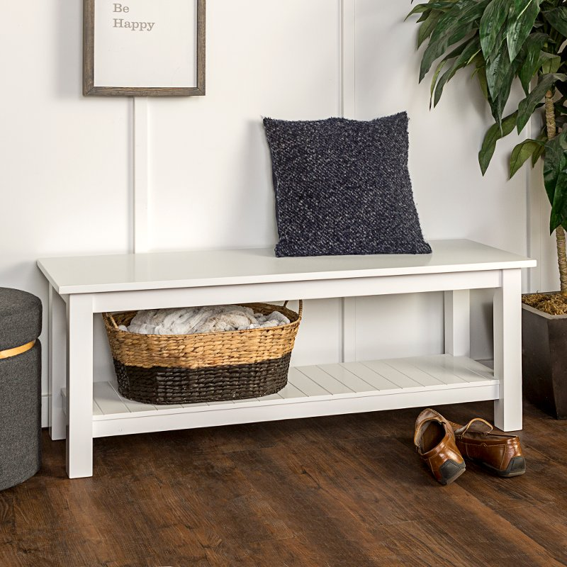 Rc Willey Idaho: Country Style White Entry Bench With Slatted Shelf