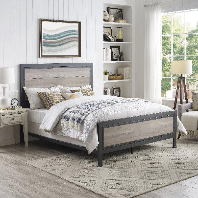 Rustic Industrial Gray Wash Queen Bed - Rustic Home
