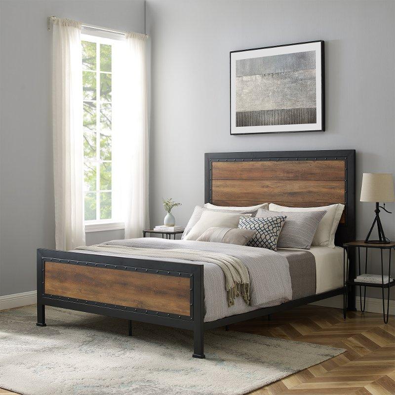 Rustic Industrial Oak Queen Bed Home Rc Willey Furniture, Rustic Industrial Furniture