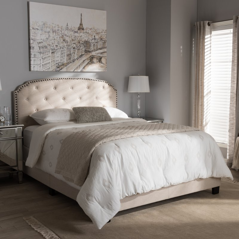 Classic Contemporary Light Beige King Upholstered Bed Lexi Rc