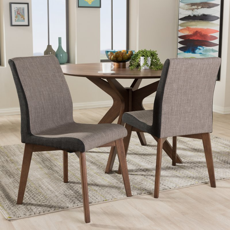 134 2PC 7181 RCW Mid Century Modern Beige And Brown Dining Room