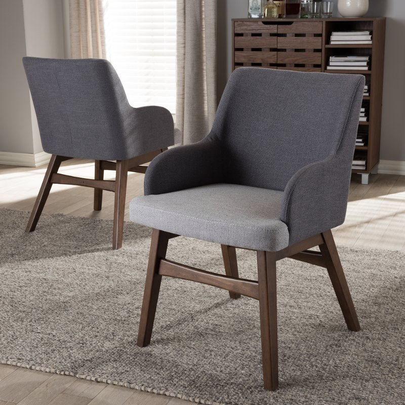 Set of 2 Mid Century Modern Gray Dining Room Chairs - Monte