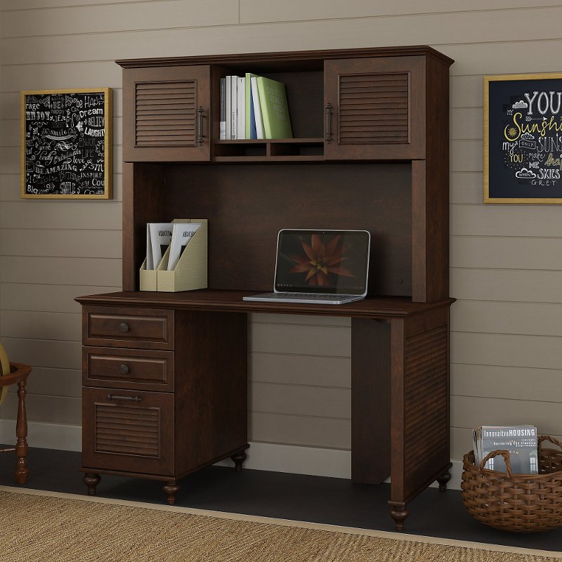 51 Inch Coastal Cherry Brown Computer Desk With Hutch   Volcano Dusk