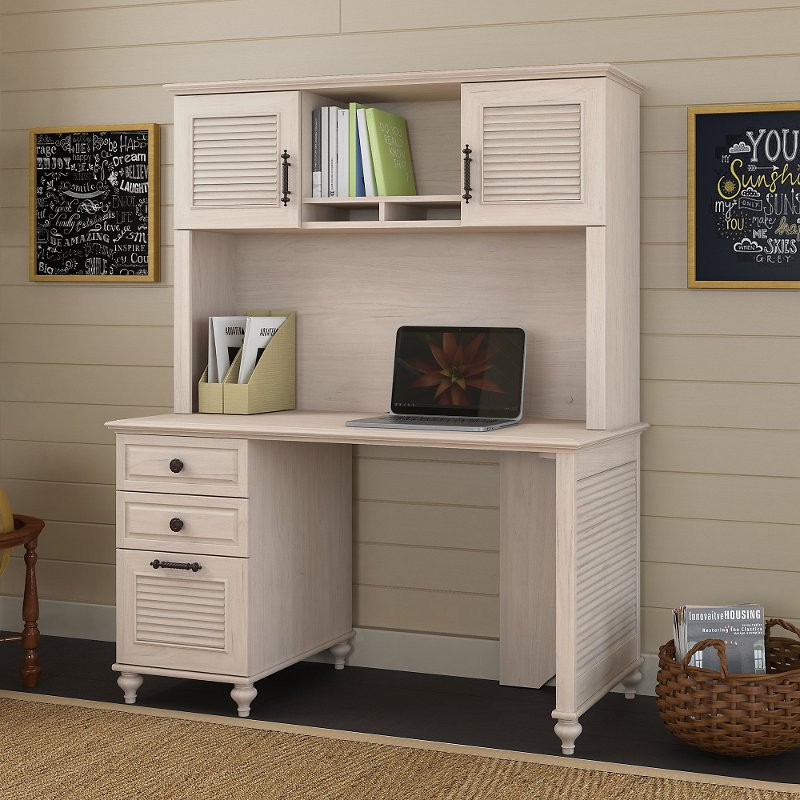 51 Inch Driftwood Dreams White Computer Desk With Hutch