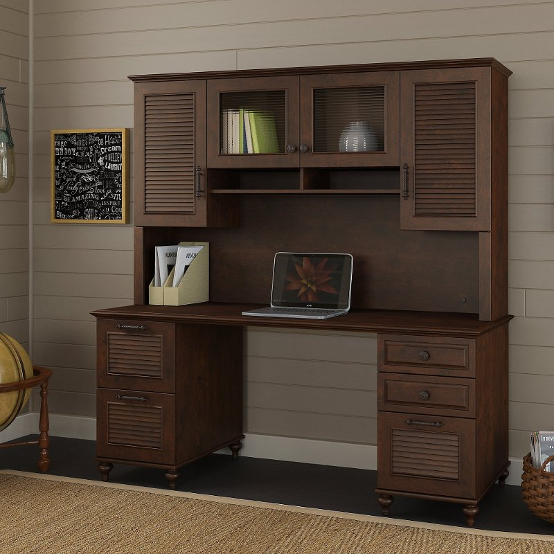 Charmant 68 Inch Coastal Cherry Brown Office Desk With Hutch   Volcano Dusk