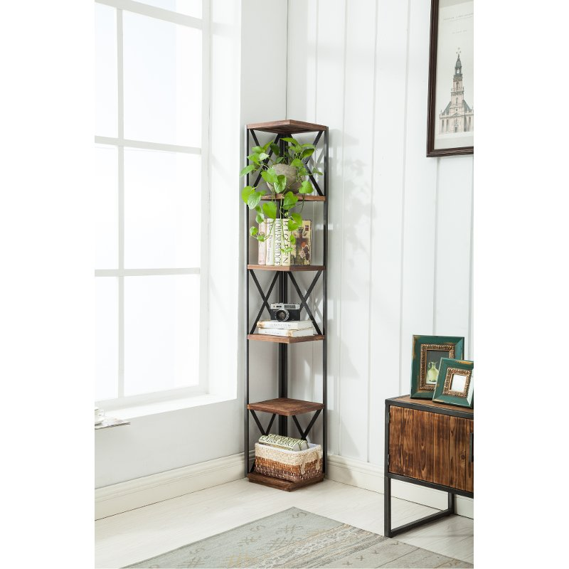 Transitional Metal And Wood Corner Bookshelf Brixton Rc Willey