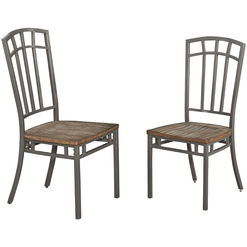 Set of 2 Gray Industrial Dining Room Chairs - Barnside Metro
