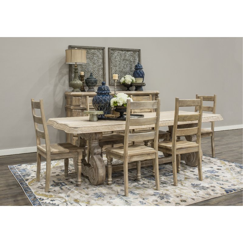 Whitewashed Natural Wood 5 Piece Dining Set   Karsten | RC Willey Furniture  Store