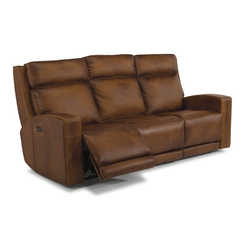 Rustic Brown Leather Reclining Sofa Archer