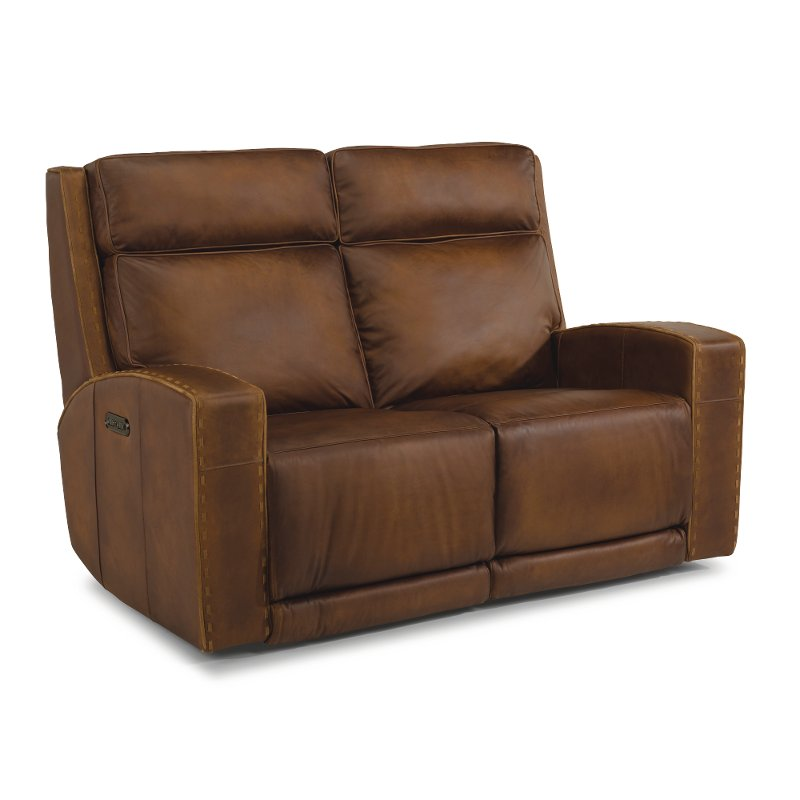 Pleasing Rustic Brown Leather Power Reclining Loveseat Archer Andrewgaddart Wooden Chair Designs For Living Room Andrewgaddartcom