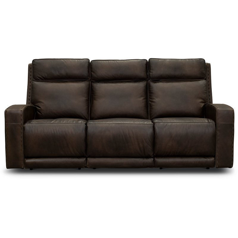 Incredible Taupe Brown Leather Power Reclining Sofa Archer Pabps2019 Chair Design Images Pabps2019Com