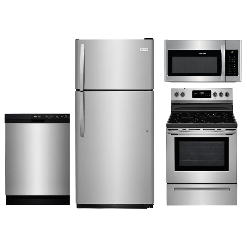 Frigidaire 4 Piece Electric Kitchen Appliance Package With Top Freezer Refrigerator Stainless Steel Rc Willey
