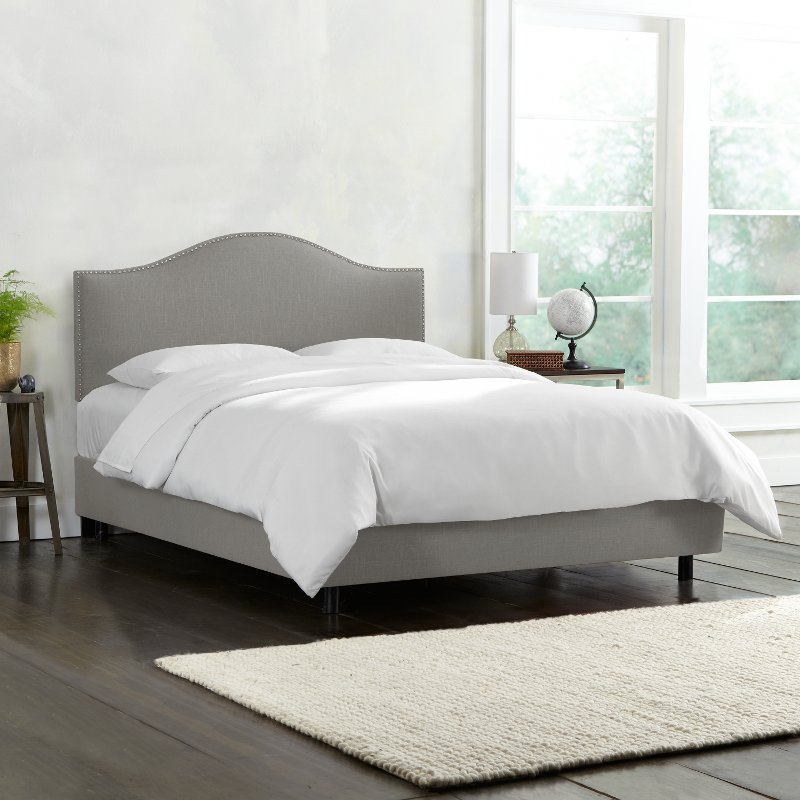 Gray Nailhead Trim King SIze Upholstered Bed | RC Willey Furniture Store