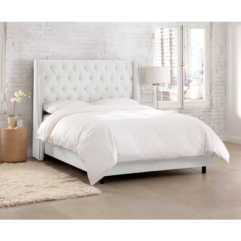 White Tufted Wingback Queen Upholstered, Upholstered Queen Bed White
