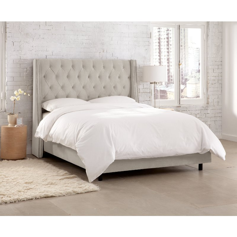 Gray Tufted Wingback Full Size Upholstered Bed Rc Willey Furniture