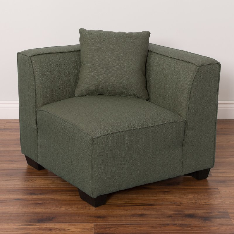 Corner Accent Chairs: Greenish-Gray Sectional Corner Wedge Accent Chair