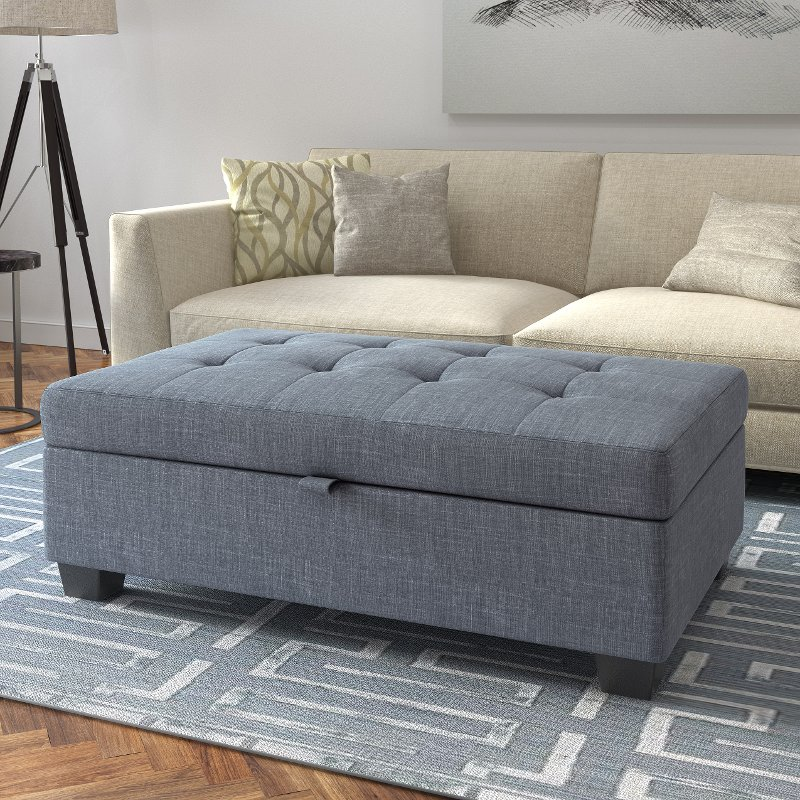 Blue Gray Storage Ottoman   Antonio