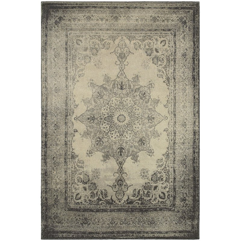 5 X 7 Medium Ivory And Gray Area Rug Richmond Rc Willey