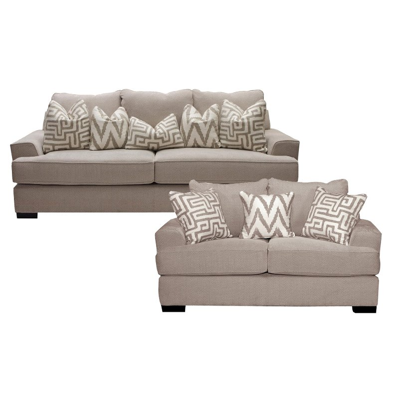 Oatmeal 2 Piece Living Room Set With Sofa Bed Renegade